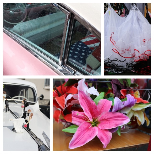 Foto-Collage: Oltimer, Petticoats und Blumen